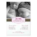 Elegant Twins Birth Announcement: Baby Pink