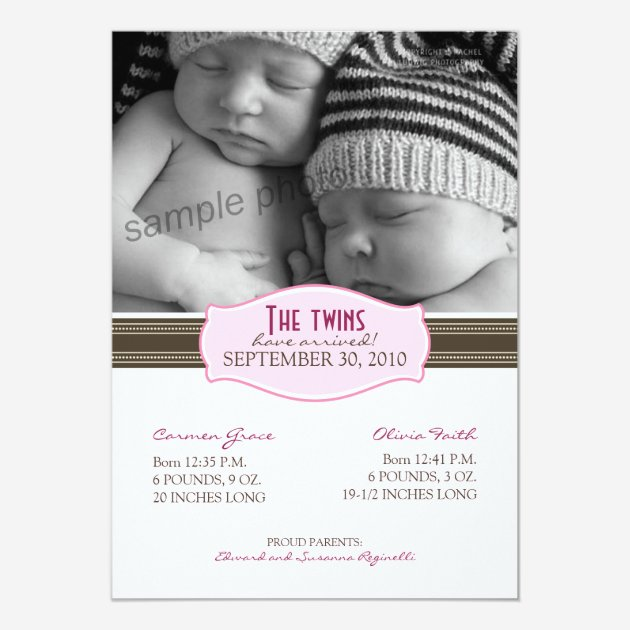 Custom Baby announcement Invites Templates for Twins – Birth Announcement for Twins
