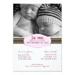 Elegant Twins Birth Announcement: Baby Pink Card