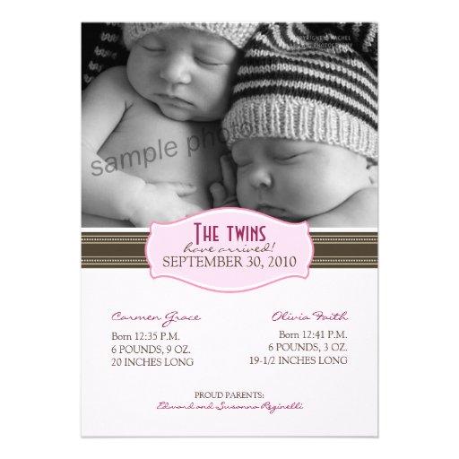 Elegant Twins Birth Announcement: Baby Pink