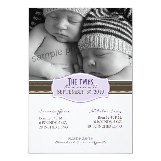 Elegant Twins Birth Announcement: Lavender Card