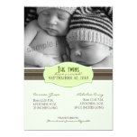 Elegant Twins Birth Announcement: Lime Green