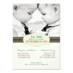 Elegant Twins Birth Announcement: Sepia Brown