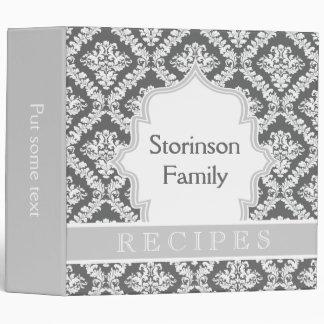 Elegant two tone grey damask recipe vinyl binder