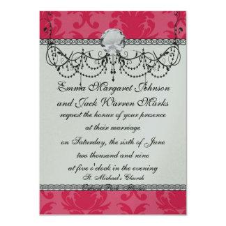 elegant two tone pink damask pattern card
