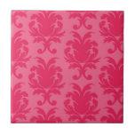 elegant two tone pink damask pattern ceramic tile