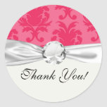 elegant two tone pink damask pattern round sticker