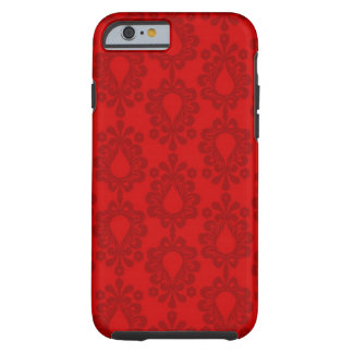 elegant two tone red damask pattern tough iPhone 6 case