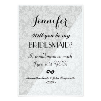 Elegant Two Tone White & Gray Damask Card