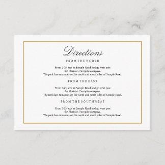 Elegant Type Black & White Gold Directions Insert