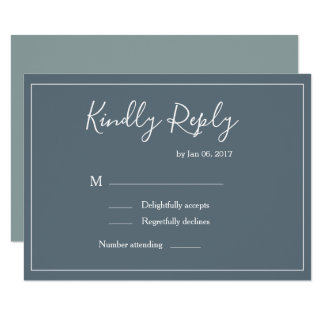 Elegant type blue white green modern wedding rsvp invitation