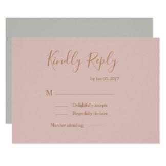 Elegant type blush gold watercolor wedding rsvp invitation