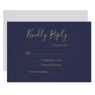 Elegant type dark blue gold lilac wedding rsvp invitation