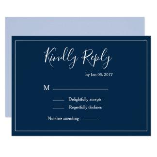 Elegant type dark blue white modern wedding rsvp invitation