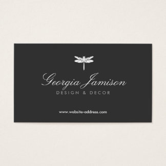 ELEGANT TYPE DRAGONFLY LOGO on DARK Business Card