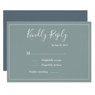 Elegant type green white blue modern wedding rsvp invitation
