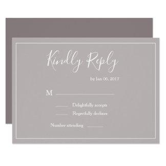 Elegant type lilac gray white modern wedding rsvp invitation