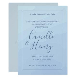 Elegant type pastel blue gray watercolor wedding invitation