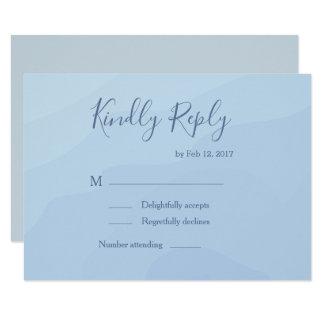 Elegant type pastel blue watercolor wedding rsvp invitation