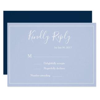 Elegant type pastel blue white modern wedding rsvp invitation