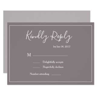 Elegant type taupe white frame modern wedding rsvp invitation