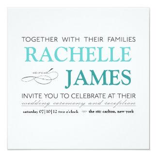 "Elegant Type Wedding Invitation 5.25"" Square Invitation Card"