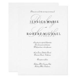 Elegant Typography Black & White Wedding Card