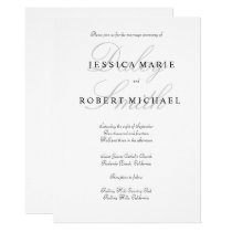 Elegant Typography Black & White Wedding Invitation