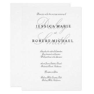 Elegant Typography Black & White Wedding Invitation