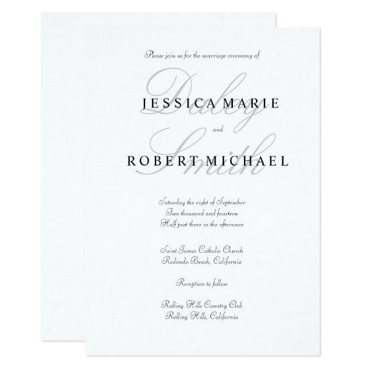 elegant typography black white wedding invitation zazzle com