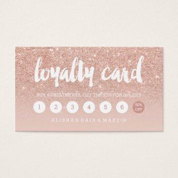 girly_trend elegant typography blush rose gold loyalty card