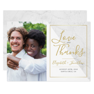 Elegant Typography | Chic Marble Thank You Photo Card