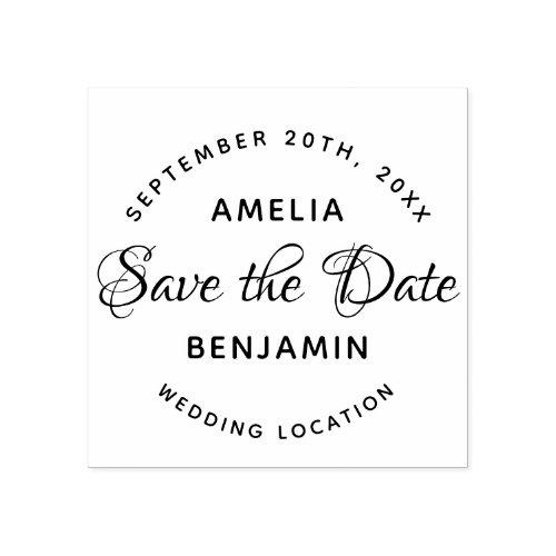 Elegant Typography Custom Wedding Save the Date Rubber Stamp