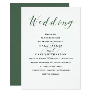 Elegant Typography   Deep Green Wedding Card