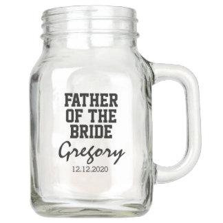 Elegant Typography FATHER of the BRIDE Monogram Mason Jar
