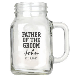 Elegant Typography FATHER of the GROOM Monogram Mason Jar