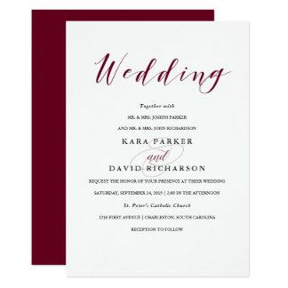 Elegant Typography | Marsala Wedding Card