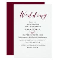 Elegant Typography | Marsala Wedding Invitation