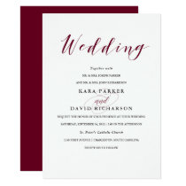 Elegant Typography | Marsala Wedding Invitation
