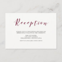 Elegant Typography | Marsala Wedding Reception Enclosure Card