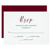 Elegant Typography | Marsala Wedding RSVP Card