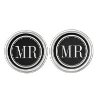 Elegant typography monogrammed cufflinks for men