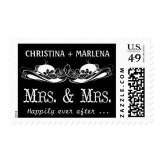 Elegant Typography Mrs & Mrs Wedding Postage