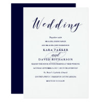 Elegant Typography | Navy Blue Wedding Card