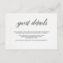 Elegant Typography on Watercolor Paper | Details Enclosure Card