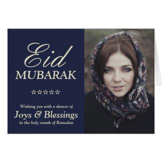 Elegant Typography Personalized Eid Mubarak Photo Card