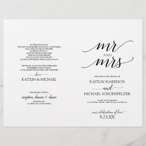 Elegant Typography Wedding Programs in Black