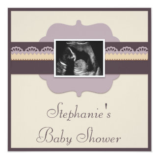 Elegant Ultrasound Photo Neutral Baby Shower Custom Invites