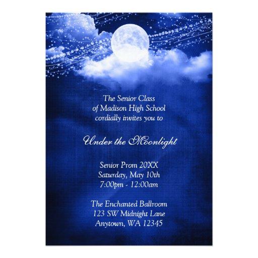 Elegant Under The Moonlight Prom Formal Dance Custom Announcement  Prom Invitation Templates
