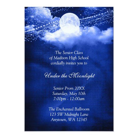 Elegant Under The Moonlight Prom Formal Dance Invitation